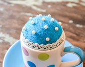 Felted Pincushion in Polka Dot Espresso Cup & Blue Saucer - Upcycled OOAK Gift for Sewer/ Crafter/ Mum - Mini Teacup Pun Cushion