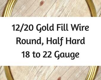 12/20 Gold Filled Wire, Round, Half Hard, 18 Gauge, 19 Gauge, 20 Gauge, 21 Gauge, 22 Gauge, Gold Wire
