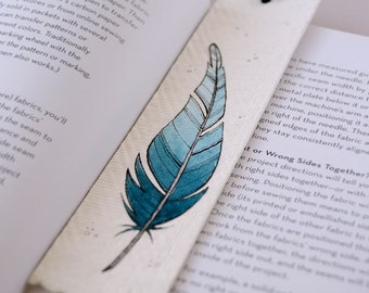 bookmark with original illustration - blue feather