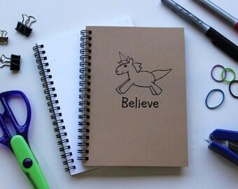 Believe (unicorn) - 5 x 7 journal