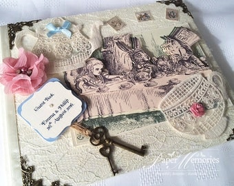 Vintage Alice in Wonderland, Mad Hatters Tea Party, Alice through the Looking Glass Wedding Guest Book, Journal