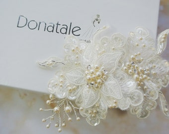 Bridal Headpiece, Bridal Hair Flowers,Ivory  Flower Pearl Hair Comb,Lace Headpiece, Wedding hair ,Bridal hair accessories -CHANELLE
