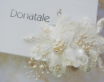 Bridal Headpiece, Bridal Hair Flowers,Ivory  Flower Pearl Hair Comb,Lace Headpiece, Wedding hair ,Bridal hair accessories -CHANELLE