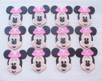 12 MINNIE MOUSE Full Face Edible Fondant Cupcake Toppers Birthday Baby Shower