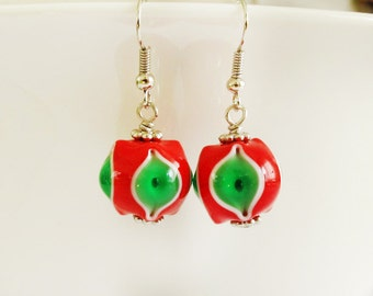 Christmas Lampwork Earrings, Holiday Jewelry, Christmas Gifts, Gift For Her, Beaded Accessories, Glasshouselampwork