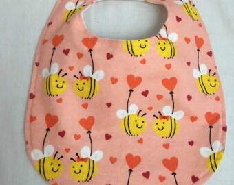 Peach Bees Baby Bib - Baby Shower Gift