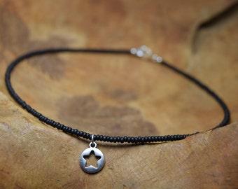 Star pendant choker, Black beaded choker, Minimalist choker, Choker with pendant, Seed beads choker, Gift for her, Silver necklace