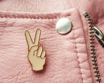 Girl Power Peace Out Hand Feminist Feminism Anatomy Body Parts Pin Badge Brooch