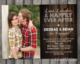 Wood Engagement Party Invitation Digital Download