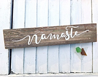 Namaste Inspirational Reclaimed Wooden Sign-Yoga Beach House Decor