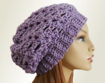 PURPLE SLOUCHY Hat Crochet Knit Wool Lavendar Light Purple Slouchy Beanie Slouch Beany Women Accessories Teen Hat Great Gift