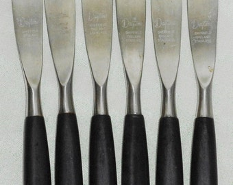 6pc DAYTONS SHEFFIELD ENGLAND Stainless Steel Faux Wood Handle Steak Knife Set