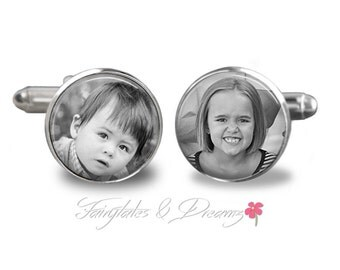 Custom Photo Cuff Links , Memorial , Fathers Day,  Photo Cufflinks , Gifts for Him, UK
