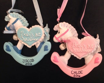 Baby's 1st Christmas Rocking Horse Personalized Christmas Ornaments