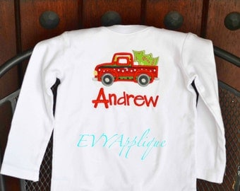 Personalized Christmas Shirt Boys, Truck Christmas Shirt, Christmas tree Shirt boy - Boy Christmas Tee - embroidered