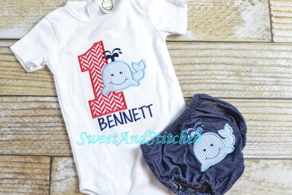 Boys Whale 1st Birthday outfit - baby boy first birthday shirt - personalized!  Whale Birthday Shirt - 1st, 2nd, 3rd, 4th Summer birthday