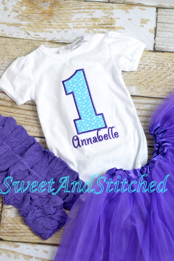 Girls First birthday outfit!  Baby girl birthday tutu.  Purple turquoise birthday tutu Outfit! 1st, 2nd, 3rd, 4th, 5th birthday outfit!