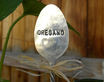 OREGANO spoon garden pick - hand stamped - plant marker - garden marker for your planter bed - gift for gardener - re-purposed spoon - herb