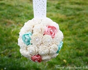 Kissing Ball, Sola Flower Kissing Ball, Coral, Mint Pomander