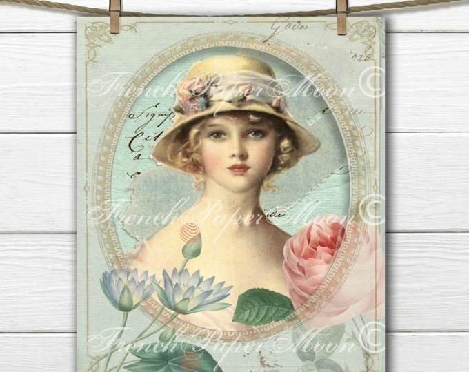 Vintage Digital Shabby French Lady with Roses, Vintage Portrait, French Pillow Digital Graphic Transfer Image
