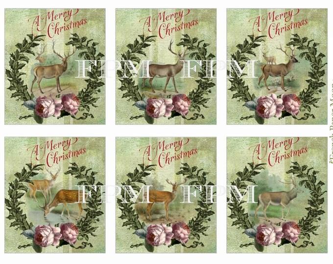 Digital Christmas Tags, Digital Reindeer, Christmas Printable, Shabby Reindeer Download, Xmas ATC