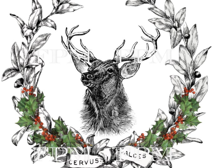 Digital Christmas Reindeer, Digital Wreath, Vintage Christmas Pillow Image, Printable Christmas Reindeer