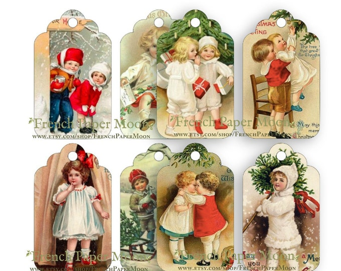 Digital Victorian Children Christmas Tags, Digital Scalloped Xmas Tags, DIY Xmas Tags