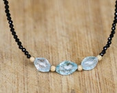 Natural Sky Blue Topaz and Black Spinel Necklace in 14K Yellow Gold , 4th and 22nd Anniversary Gems , December Birthstone , Healing , OOAK