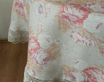 Linen Round Tablecloth Lace Beige Narural