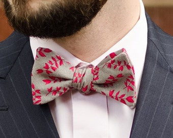 All cotton grey and red floral self tie bow tie