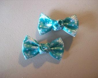 White Snowflake Satin Bow Tie Bows