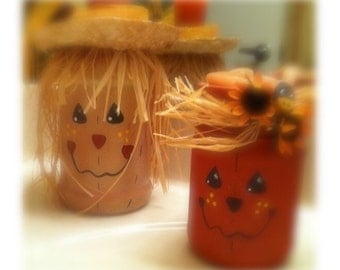 Mason jar scarecrows