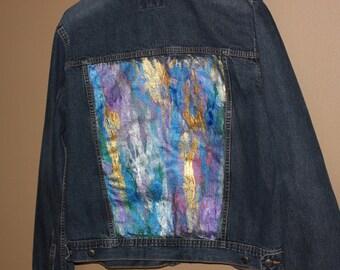 Izod womens embellished denim jacket size X-large