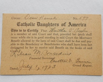 Vintage Catholic Daughters of America Membership Card 1923
