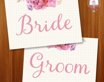 Rustic Wedding Bride & Groom Chair Sign - Printable Wedding Chair Sign