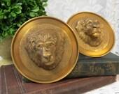 Decorative Brass Male Lions Head Curtain Drapery Tie Backs Pair - Lionhead