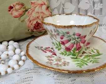 "Salisbury Bone China ""FOXGLOVE"" Teacup & Saucer England Floral Teacups - Tea Party"