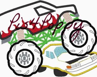 instant download 2Monster *FLAMES* truck over car applique design