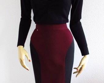 Pencil Skirt Pencil Bicolore Bordeaux & Black Optical Effect