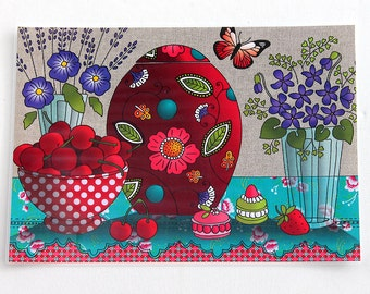 "Laminated placemat ""cherry & violet"""