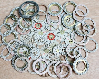 watch supplies ...  set of 70  vintage watch date and day dials ...  watch dial, circle ... old vintage watch parts ... steampunk supplies