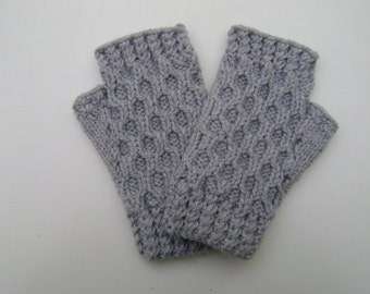 Light Grey Handwarmers / Fingerless Gloves.  Ready to Ship.