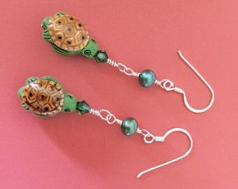 Turtle Pearl Earrings