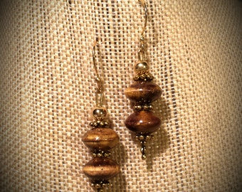 Cream, Tan, Earth Tone Brown Glazed Ceramic Puff Disc Earrings with Antiqued Gold Accents on Gold Finished Brass Hook Earrings Ceramic