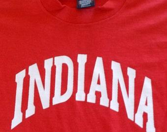 90s Screen Stars Indiana Spellout 50/50 Vintage T Shirt Medium