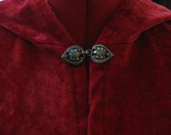 Beautiful Red Velvet Hooded Cloak