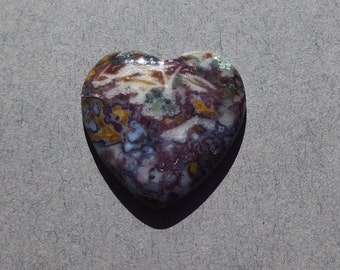 Red Lightning Agate Heart Cabochon  (25X25X5)