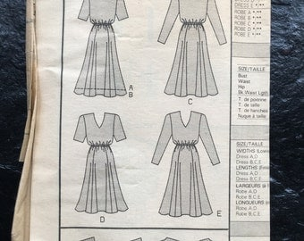 Vintage Unused Pullover Dress with Blouson Bodice Pattern // Butterick 4560, Sizes 6-8-10, long or short sleeves