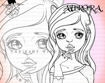 Digital stamp- Aurora 'Kitty Trand'- 300dpi JPG/PNG files -MAC0339
