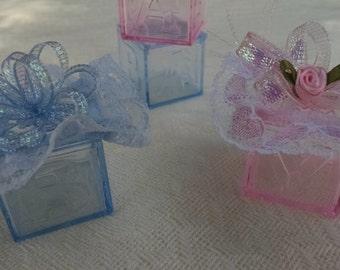 Pink Baby Shower Block Favors - Blue Baby Shower Block Favors -  Baby Girl Shower Favors -  Baby Boy Shower Favors - Set Of 10
